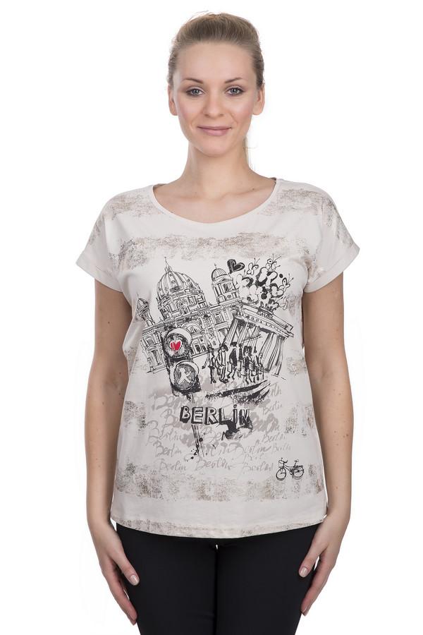 Футболка TaifunФутболки<br>Стильная женская футболка цвета слоновой кости от бренда Taifun. Данная футболка выполнена по свободному крою с круглым вырезом и коротким рукавом. Изделие пошито из материала, который на 100% состоит из хлопка. Футболка дополнена принтом полосок цвета металлик с эффектом потертости, а также черно-белым принтом с надписью на передней ее части.<br><br>Размер RU: 44<br>Пол: Женский<br>Возраст: Взрослый<br>Материал: хлопок 100%<br>Цвет: Разноцветный