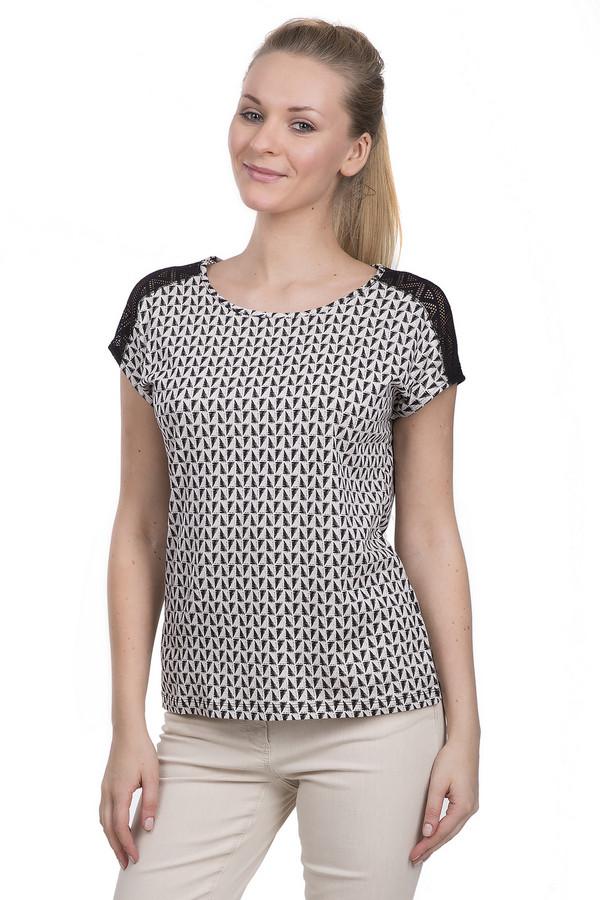 Блузa TaifunБлузы<br>Стильная женская блуза от бренда Taifun. Данная блуза выполнена в черно-белых тонах, с оригинальными ромбовидными орнаментами и кружевными вставками на плечах. У данного изделия круглый вырез и короткий рукав. Эту блуза пошита из смеси модала и хлопка.<br><br>Размер RU: 46<br>Пол: Женский<br>Возраст: Взрослый<br>Материал: хлопок 50%, модал 50%<br>Цвет: Чёрный