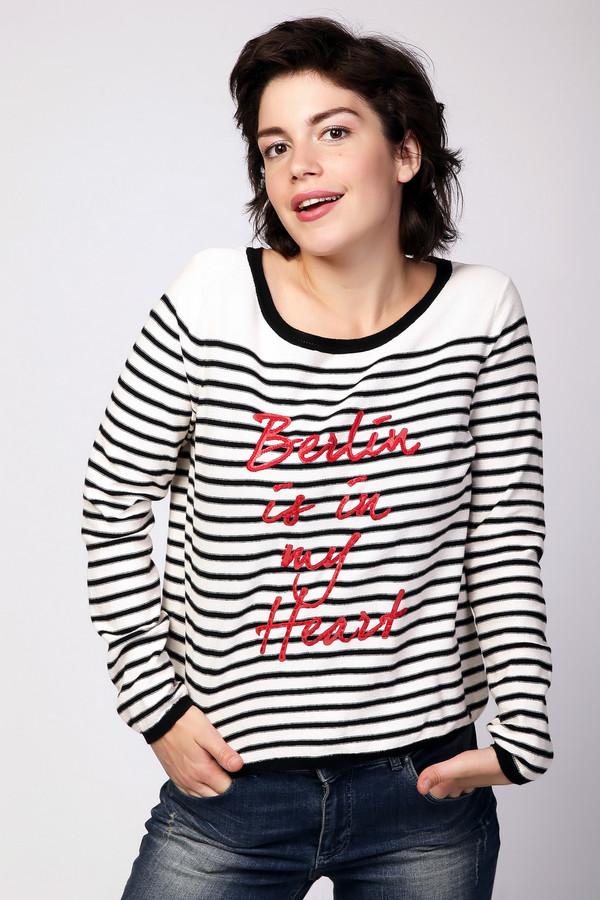Пуловер TaifunПуловеры<br>Демисезонный женский пуловер от бренда Taifun, выполненный в белом цвете в черную полоску, с надписью красного цвета спереди. Пуловер декорирован на спине вертикальной планкой черного цвета и пуговицами с наименованием торговой марки. Данная модель дополнена глубоким U-образным вырезом, длинным рукавом и декорирована отделкой в виде резинки на рукавах, горловине и внизу изделия. Состав материала данного изделия - 100% хлопок.<br><br>Размер RU: 44<br>Пол: Женский<br>Возраст: Взрослый<br>Материал: хлопок 100%<br>Цвет: Разноцветный