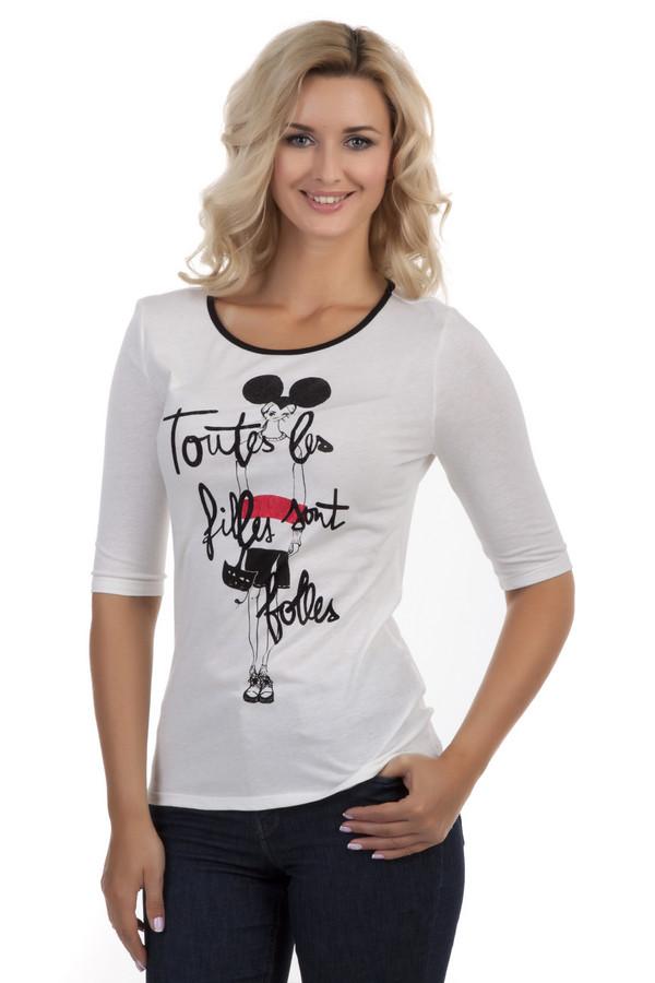 Футболка OuiФутболки<br>Белая футболка Oui с необычным изображением (девушка с ушами Мики-Мауса) изготовлена натурального хлопка. Рукава размером 3\4 дают возможность носить футболку в любое время года. Благодаря своему крою одежда идеально подчеркивает вашу фигуру. Ворот украшен элегантной черной окантовкой, которая придает выразительности вашему образу.<br><br>Размер RU: 40<br>Пол: Женский<br>Возраст: Взрослый<br>Материал: хлопок 60%, модал 40%<br>Цвет: Белый