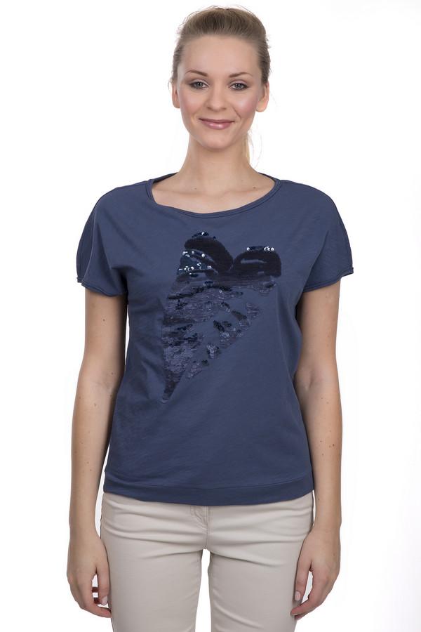 Футболка Luisa CeranoФутболки<br>Женская футболка синего цвета от торговой марки Luisa Cerano. Футболка сшита по простому крою с рукавом длиной до середины плеча и круглым вырезом. Изделие пошито из 100% хлопка и декорировано пайетками на передней его части.<br><br>Размер RU: 42<br>Пол: Женский<br>Возраст: Взрослый<br>Материал: хлопок 100%<br>Цвет: Чёрный