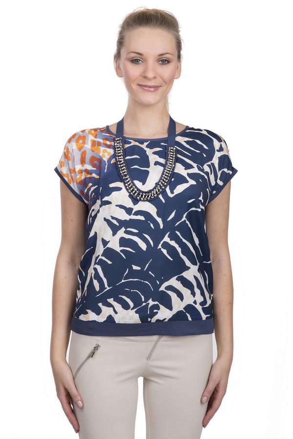 Блузa Luisa CeranoБлузы<br>Блуза для женщин от бренда Luisa Cerano. Это блуза с коротким рукавом и круглым вырезом, пошитая из вискозы с добавлением эластана. Изделие дополнено стильным украшением в виде ожерелья из стекляруса. Данное изделие представлено в синем цвете, а спереди декорировано тропическим и звериным принтом.<br><br>Размер RU: 42<br>Пол: Женский<br>Возраст: Взрослый<br>Материал: эластан 5%, вискоза 95%<br>Цвет: Разноцветный