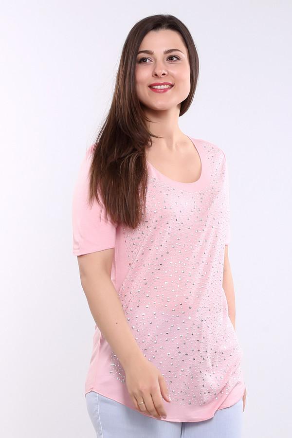 Футболка Betty BarclayФутболки<br>Женская футболка от торговой марки Betty Barclay. Данная модель представлена в нежно-розовом цвете с металлическими стразами серебристого цвета, дополненная рукавами длиной до середины плеча и U-образным вырезом. Состав данного изделия - 100% лиоцел.