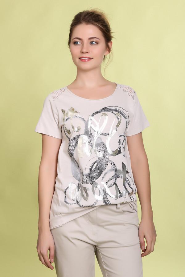 Футболка Betty BarclayФутболки<br>Легкая женская футболка от бренда Betty Barclay серого цвета с принтом, украшенным стразами и серебристо-золотистой надписью спереди. Данная модель дополнена коротким рукавом, полукруглым вырезом и ажурными вставками на плечах, а также вставкой в виде сетка сверху на спине. Состав изделия - 100% хлопок.<br><br>Размер RU: 44<br>Пол: Женский<br>Возраст: Взрослый<br>Материал: хлопок 100%<br>Цвет: Разноцветный