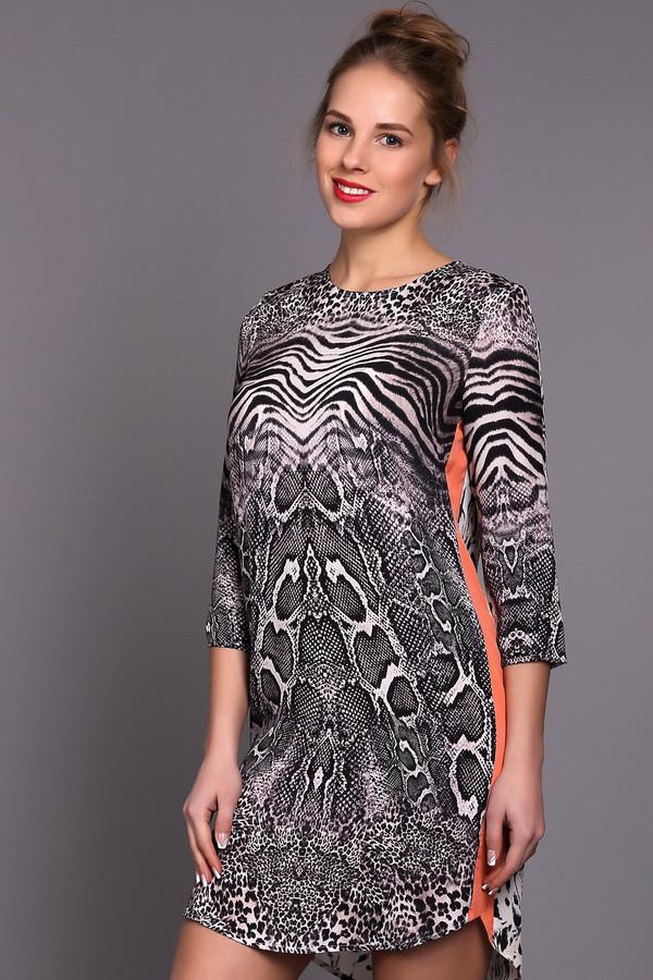 Платье SportalmПлатья<br>Женское платье от бренда Sportalm. Платье пошито из 100% шелка, с нанесением монохромного звериного принта и оранжевыми вставками по бокам. Это платье-футляр длиной до середины бедра, с круглым вырезом и рукавом длиной три четверти. Задняя часть платья слегка удлиненная.<br><br>Размер RU: 44<br>Пол: Женский<br>Возраст: Взрослый<br>Материал: шелк 100%<br>Цвет: Разноцветный
