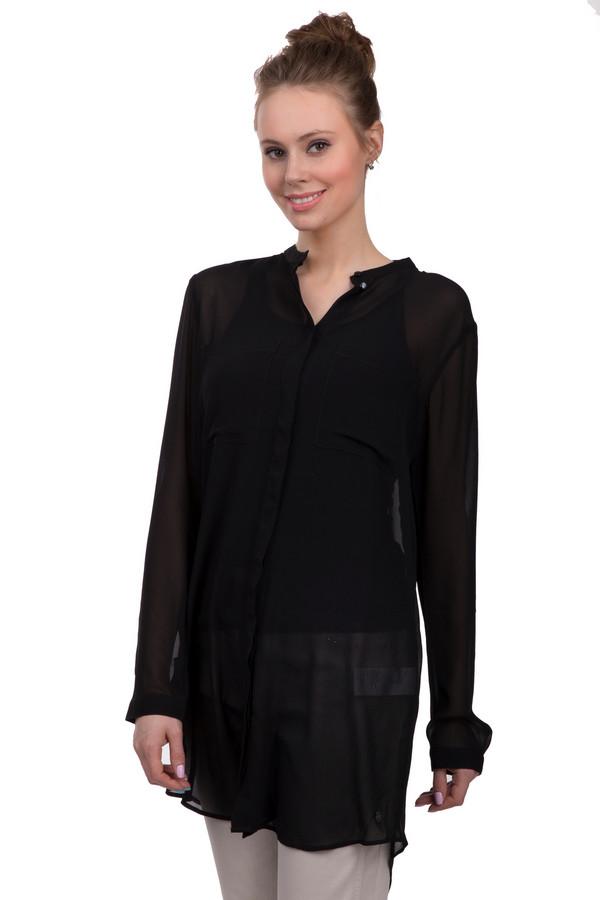 Блузa s.Oliver DENIMБлузы<br>Модная полупрозрачная блуза черного цвета от бренда s.Oliver. Изделие дополнено: воротником-стойка с планкой на пуговицах, длинными руками и удлиненной спинкой с округлыми разрезами по бокам.<br><br>Размер RU: 42<br>Пол: Женский<br>Возраст: Взрослый<br>Материал: полиэстер 100%<br>Цвет: Чёрный