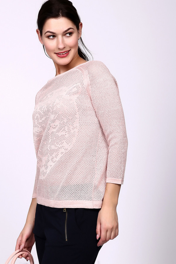Пуловер Gerry WeberПуловеры<br>Женский пуловер от торговой марки Gerry Weber, нежно-розового цвета с люрексом. Это модель прямого покроя, с ажурной вязкой и с изображением леопарда спереди. Данное изделие дополнено рукавом-реглан длиной три четверти, и глубоким U-образным вырезом. Состав: 80% хлопка и 20% полиэстера.<br><br>Размер RU: 48<br>Пол: Женский<br>Возраст: Взрослый<br>Материал: полиэстер 20%, хлопок 80%<br>Цвет: Розовый