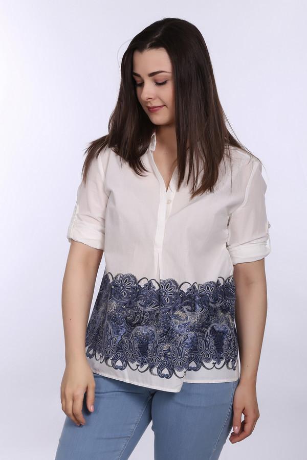 Блузa Betty BarclayБлузы<br>Блуза от бренда Betty Barclay белого цвета создана для того, чтобы подчеркнуть лёгкость и женственность. Изделие дополнено отложным воротником и короткими рукавами с отворотом. Центральная часть застегивается на пуговицы. Блуза декорирована стильным абстрактным принтом в темно-синей гамме. Материал модели – 100% хлопок.<br><br>Размер RU: 42<br>Пол: Женский<br>Возраст: Взрослый<br>Материал: хлопок 100%<br>Цвет: Синий