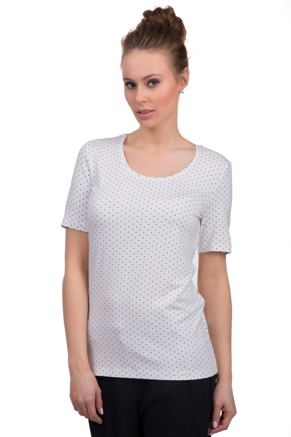 Футболка SteilmannФутболки<br>Белая в мелкий черный горошек футболка для женщин. Это футболка от бренда Steilmann, которая пошита из вискозы с добавлением эластана. У данной модели круглый вырез и рукав длиной до середины плеча.<br><br>Размер RU: 42<br>Пол: Женский<br>Возраст: Взрослый<br>Материал: эластан 8%, вискоза 92%<br>Цвет: Синий