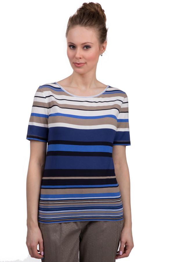 Футболка Betty BarclayФутболки<br>Полосатая женская футболка свободного кроя от бренда Betty Barclay. Футболка выполнена в белом, синем, голубом, черном и кофейном оттенках. Она сшита из вискозы с добавлением эластана. У данной модели рукав длиной до середины плеча и круглый вырез.<br><br>Размер RU: 44<br>Пол: Женский<br>Возраст: Взрослый<br>Материал: эластан 5%, вискоза 95%<br>Цвет: Разноцветный