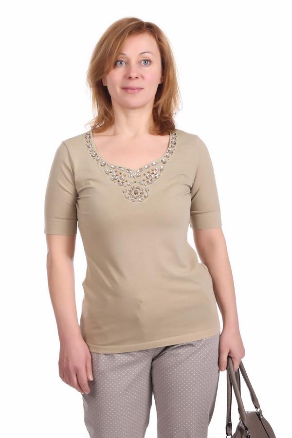 Футболка Betty BarclayФутболки<br>Модная футболка для женщин от бренда Betty Barclay. Футболка представлена в кофейно-бежевом оттенке и декорирована различными стразами у выреза. У данной модели рукав длиной до середины плеча и широкий U-образный вырез. Материал - хлопок с добавлением эластана.<br><br>Размер RU: 42<br>Пол: Женский<br>Возраст: Взрослый<br>Материал: хлопок 92%, эластан 8%<br>Цвет: Бежевый