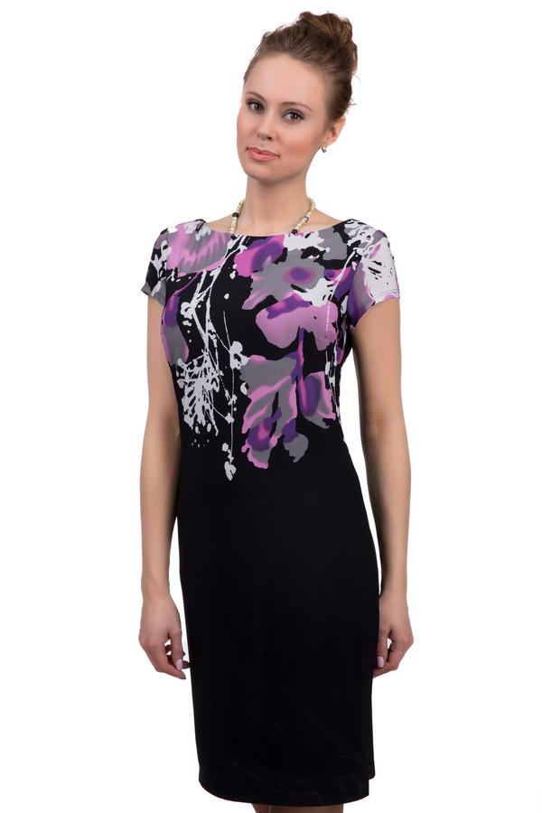 Платье Joseph RibkoffПлатья<br>Женское приталенное платье-футляр длиной до колена, от бренда Joseph Ribkoff. У этой модели вырез-лодочка и короткий рукав. В состав материала, из которого пошито данное платье, входит полиамид с небольшим процентом спандекса. Платье представлено в черном цвете, а его верхняя часть декорирована цветочным принтом, выполненным в оттенках розового, сиреневого, серого и белого цвета.<br><br>Размер RU: 44<br>Пол: Женский<br>Возраст: Взрослый<br>Материал: полиамид 95%, спандекс 5%<br>Цвет: Разноцветный