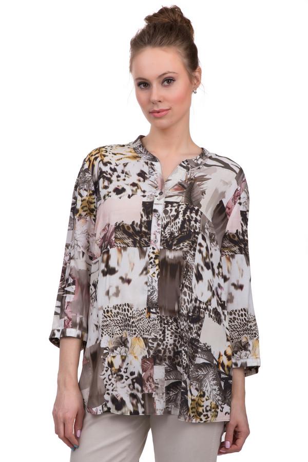 Блузa Gerry WeberБлузы<br>Женская слегка удлиненная блуза из легкой ткани, от бренда Gerry Weber. У данной блузы круглый вырез на пуговицах, удлиненная спинка и рукава три четверти. Изделие представлено в белом цвете, со звериным принтом в коричневых, желтых и розовых оттенках.<br><br>Размер RU: 44<br>Пол: Женский<br>Возраст: Взрослый<br>Материал: вискоза 100%<br>Цвет: Разноцветный