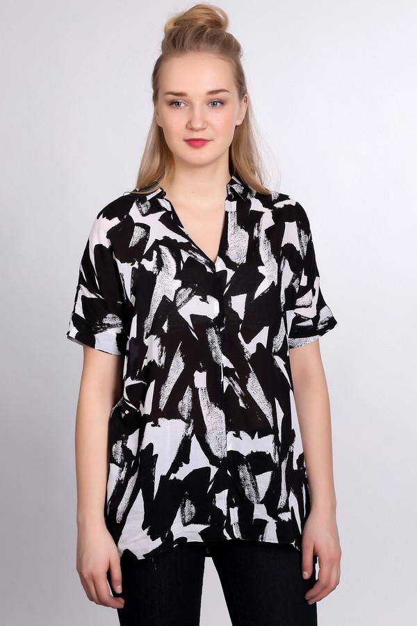 Блузa ErfoБлузы<br>Стильная брендовая блуза для женщин от Erfo. Данная модель представлена в черном цвете с узорами белого цвета. Блуза пошита из приятной к телу 100% вискозы по простому свободному крою. Изделие дополнено рукавами до плеч и небольшим отложным воротником с планкой на пуговицах.<br><br>Размер RU: 44<br>Пол: Женский<br>Возраст: Взрослый<br>Материал: вискоза 100%<br>Цвет: Белый