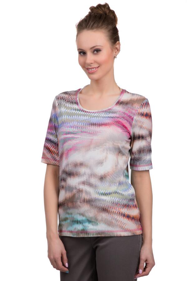 Футболка ErfoФутболки<br>Женская футболка от бренда Erfo с абстрактным разноцветным принтом. Это футболка с рукавом длиной до локтя и U-образным вырезом. По краю низа, рукава и выреза она оформлена двойной строчкой розовой нитью. Материал - вискоза с добавлением эластана.<br><br>Размер RU: 46<br>Пол: Женский<br>Возраст: Взрослый<br>Материал: эластан 6%, вискоза 94%<br>Цвет: Разноцветный