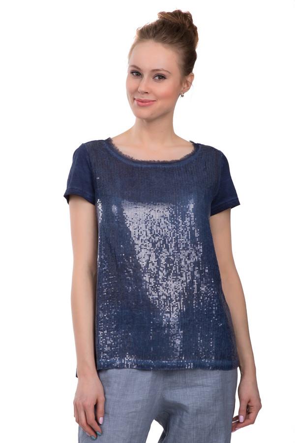 Футболка TaifunФутболки<br>Женская футболка от бренда Taifun, представлена в синем цвете. Данная модель дополнена короткими рукавами, глубоким U-образным декорированным вырезом, спереди украшена темно-синими блестящими пайетками и пуговицей на спине. Состав изделия - 100% хлопок.<br><br>Размер RU: 42<br>Пол: Женский<br>Возраст: Взрослый<br>Материал: хлопок 100%<br>Цвет: Синий