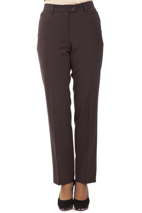 Брюки GardeurБрюки<br>Коричневые брюки от бренда Gardeur прямого кроя выполнены из костюмного материала. Изделие дополнено: поясом с шлевками для ремня, стрелками, выточками и двумя карманами. Центральная часть застегивается на молнию и фиксируется на застежку крючок-петля с пуговицей.<br><br>Размер RU: 44<br>Пол: Женский<br>Возраст: Взрослый<br>Материал: эластан 5%, полиэстер 52%, шерсть 43%<br>Цвет: Коричневый