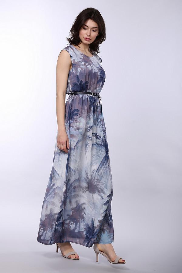 Длинное платье TaifunДлинные платья<br>Модное платье для женщин, от бренда Taifun. Это платье-безрукавка, длиной до щиколотки, с круглым вырезом. Платье выполнено в серо-голубых оттенках, с тропическим принтом, и дополнено тонким черным поясом на талии.<br><br>Размер RU: 44<br>Пол: Женский<br>Возраст: Взрослый<br>Материал: полиэстер 100%<br>Цвет: Разноцветный