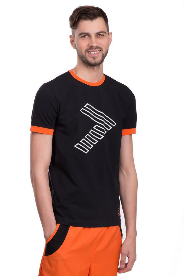 Футболкa EA7Футболки<br>Мужская футболка от бренда EA7 прямого кроя. Эта футболка выполнена их хлопкового материала черного цвета с незначительным добавлением эластана. Изделие дополнено: круглым воротом и короткими рукавами до середины плеча. Ворот и манжеты оформлены ярко-оранжевой окантовкой. Футболка декорирована геометрическим принтом и изображением эмблемы бренда. В комплект к футболке можно подобрать шорты EA7.<br><br>Размер RU: 48<br>Пол: Мужской<br>Возраст: Взрослый<br>Материал: эластан 6%, хлопок 94%<br>Цвет: Разноцветный