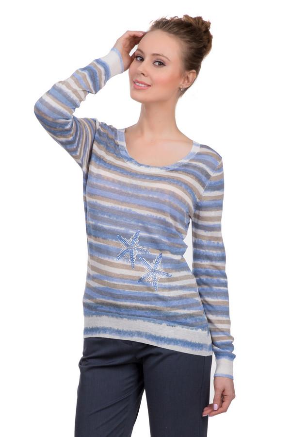 Пуловер ApanageПуловеры<br>Полосатый женский пуловер, представлен торговой маркой Apanage. Данная модель выполнена в белой, бежевой, синей и голубой цветовой гамме, спереди украшена стразами белого и голубого цвета. Изделие дополнено глубоким U-образным вырезом, длинным рукавом. А также отделкой в виде резинки на горловине, внизу и на рукавах. Состав - 67% льна, 21% вискозы и 12% полиамида.<br><br>Размер RU: 44<br>Пол: Женский<br>Возраст: Взрослый<br>Материал: полиамид 12%, вискоза 21%, лен 67%<br>Цвет: Разноцветный