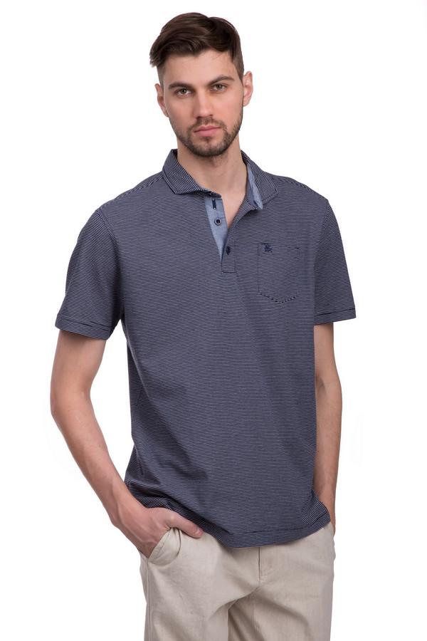 Поло LerrosПоло<br>Поло для мужчин, от бренда Lerros. Это поло в мелкую сине-белую полоску, пошитое из смеси хлопка и полиэстера. Изделие дополнено отложным воротником на пуговицах, с голубыми вставками, а также длинным рукавом длиной до середины плеча и нагрудным карманом с вышивкой эмблемы бренда темно-синей нитью.<br><br>Размер RU: 44-46<br>Пол: Мужской<br>Возраст: Взрослый<br>Материал: полиэстер 23%, хлопок 77%<br>Цвет: Синий