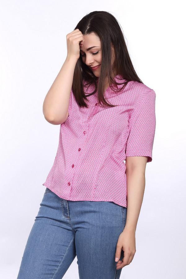 Блузa ErfoБлузы<br>Блуза для женщин от бренда Erfo. Это блуза розового цвета, с оригинальными орнаментами белого цвета. Изделие пошито по свободному крою. Данная блуза на пуговицах, с отложным воротником и рукавами длиной до локтя.<br><br>Размер RU: 46<br>Пол: Женский<br>Возраст: Взрослый<br>Материал: полиэстер 100%<br>Цвет: Розовый