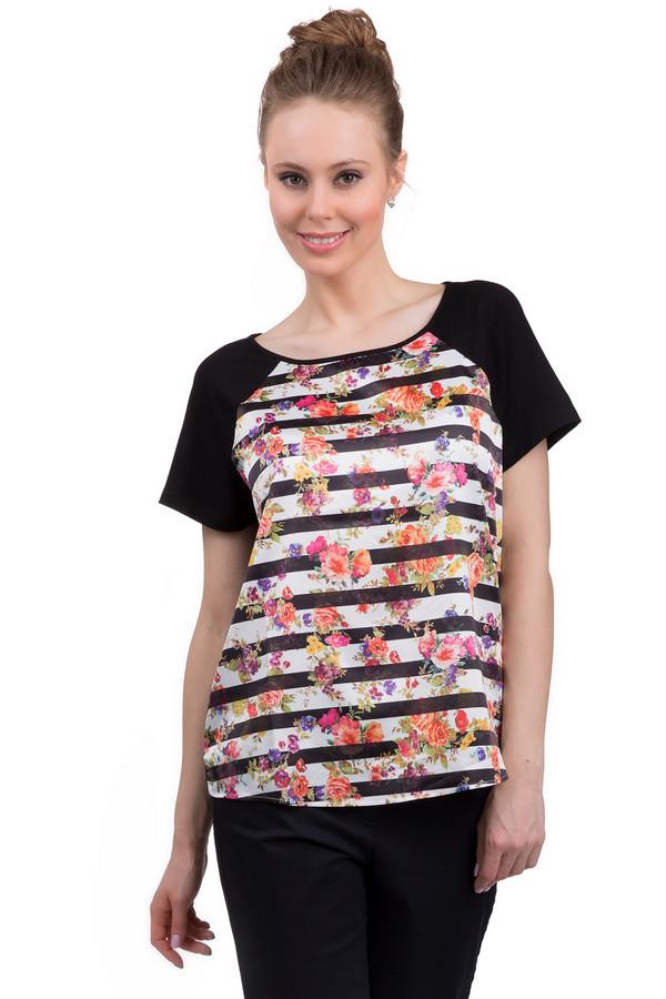 Футболка Via AppiaФутболки<br>Легкая, стильная женская футболка от бренда Via Appia. Это футболка свободного кроя, в черно-белую горизонтальную полоску, с коротким рукавом черного цвета. Данная футболка пошита из вискозы с добавлением эластана. Передняя часть футболки дополнена ярким цветочным принтом, а ее задняя часть выполнена в черном цвете.<br><br>Размер RU: 44<br>Пол: Женский<br>Возраст: Взрослый<br>Материал: вискоза 90%, эластан 10%<br>Цвет: Разноцветный