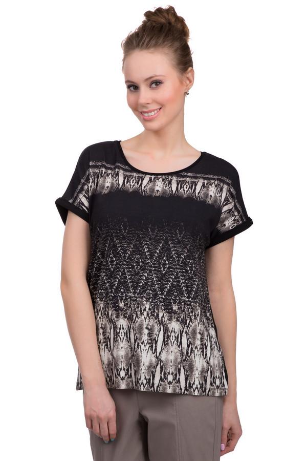 Футболка Via AppiaФутболки<br>Летняя женская футболка торговой марки Via Appia, выполненная в черном цвете с эффектным бежево-коричневым змеиным принтом спереди и на рукавах. Данная модель дополнена короткими бесшовными рукавами с небольшим отворотом, полукруглым вырезом. Изделие состоит из вискозы с добавлением эластана.<br><br>Размер RU: 44<br>Пол: Женский<br>Возраст: Взрослый<br>Материал: вискоза 90%, эластан 10%<br>Цвет: Разноцветный