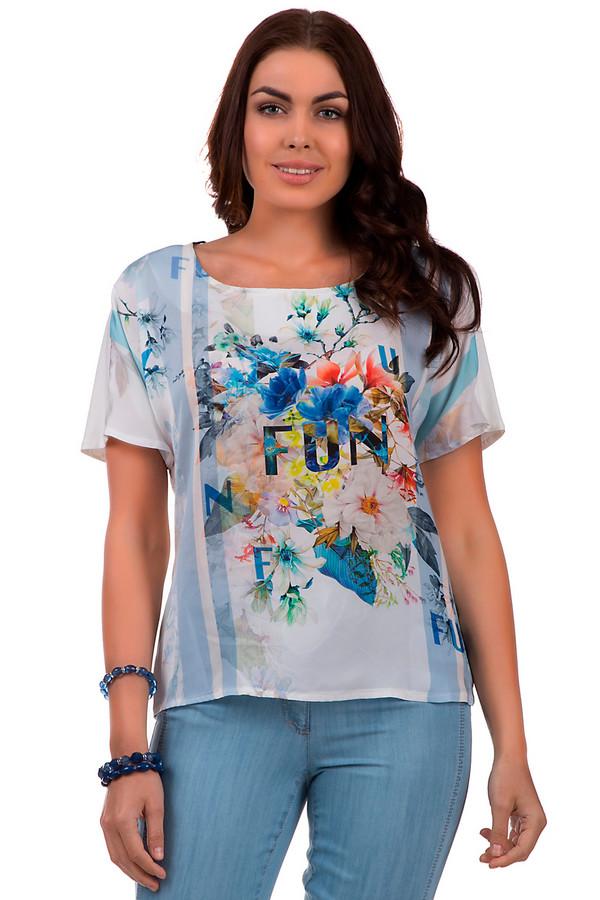 """Блузa SteilmannБлузы<br>Изысканная блуза от бренда Steilmann имеет свободный фасон и необычайно яркий цветочный принт. Блуза цельная, надевается через голову, состоит из эластана и вискозы. Одинаково подойдет как для официальных мероприятий, так и для досуга. Изделие дополнено надписью «Fun"""", что в любой момент напомнит о хорошем настроении и необходимости радоваться жизни.<br><br>Размер RU: 44<br>Пол: Женский<br>Возраст: Взрослый<br>Материал: эластан 5%, вискоза 95%<br>Цвет: Разноцветный"""