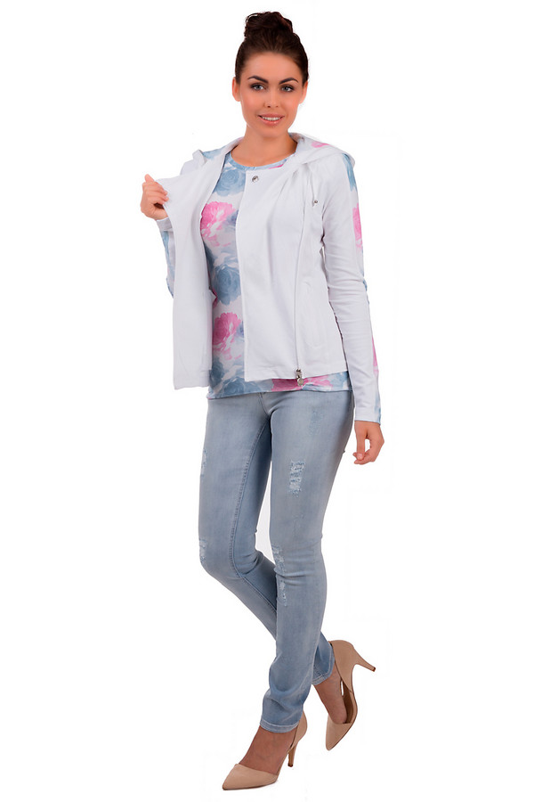 Модные джинсы OuiМодные джинсы<br>Модные женские джинсы от бренда Oui, светло-голубого цвета с эффектом потертости. Это джинсы-скинни, с комбинированной застежкой, на кокетке. Модель дополнена двумя накладными карманами с декоративной отделкой сзади, двумя боковыми карманами, а также пятым карманом спереди. Внутренняя часть изделия обработана двойной строчкой. Материал - 98% хлопка и 2% эластана.<br><br>Размер RU: 40<br>Пол: Женский<br>Возраст: Взрослый<br>Материал: хлопок 98%, эластан 2%<br>Цвет: Голубой