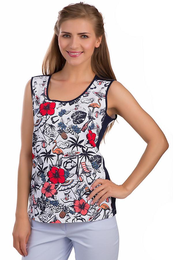 Топ Via AppiaТопы<br>Модный топ Via Appia белого и черного цветов. Это изделие было выполнено из хлопка и эластана. Данная модель предназначена для летнего сезона. Дополнена яркими изображениями фламинго, крупных цветов и рисунками, связанными с летом. Спереди футболка украшена рисунками на белом фоне, а сзади она полностью белая.<br><br>Размер RU: 48<br>Пол: Женский<br>Возраст: Взрослый<br>Материал: хлопок 95%, эластан 5%<br>Цвет: Разноцветный