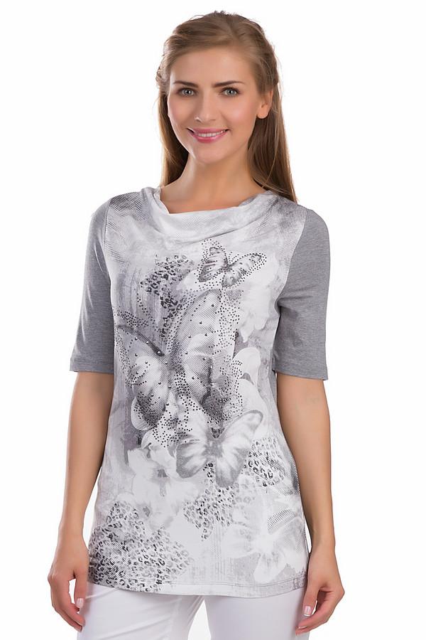 Футболка Betty BarclayФутболки<br>Утонченная женская футболка Betty Barclay серого, черного и белого цветов. Это изделие было выполнено из эластана и вискозы. Данная модель предназначена для летнего сезона. Дополнена изображением бабочек в серых тонах на белом фоне и серебристыми камнями. Футболка и ее рукава слегка удлинены. Отличный вариант для вечерних прогулок.<br><br>Размер RU: 44<br>Пол: Женский<br>Возраст: Взрослый<br>Материал: эластан 5%, вискоза 95%<br>Цвет: Разноцветный
