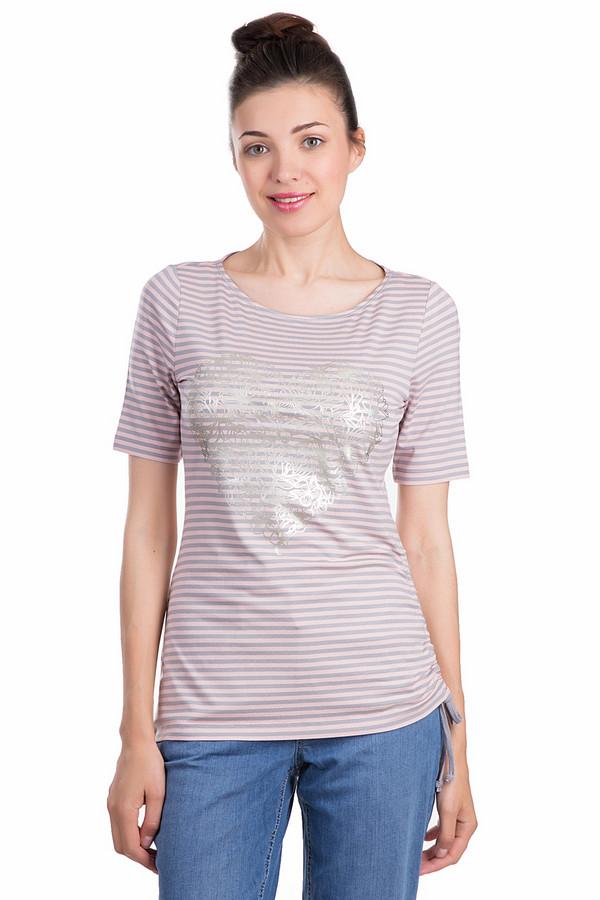 Футболка Betty BarclayФутболки<br>Женская футболка Betty Barclay розового и серого цветов. Это изделие было выполнено из эластана и вискозы. Данная модель предназначена для летнего сезона. Футболка дополнена затяжками снизу по бокам, изображением серебристого большого сердца на розово сером фоне. Рукава футболки немного удлинены.<br><br>Размер RU: 46<br>Пол: Женский<br>Возраст: Взрослый<br>Материал: эластан 5%, вискоза 95%<br>Цвет: Серый