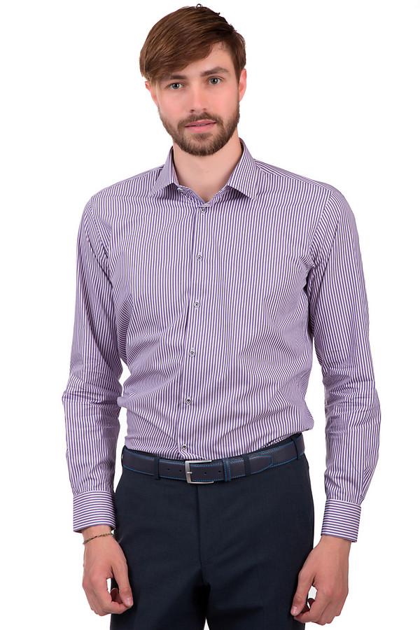 Рубашка с длинным рукавом Flavio NavaДлинный рукав<br>Мужская рубашка от бренда Flavio Nava. Изделие изготовлено из 100% хлопка по классическому крою. У данной модели отложной воротник и длинный рукав. Это белая рубашка в фиолетовую вертикальную полоску, которая застегивается на черно-белые пуговицы.<br><br>Размер RU: 45<br>Пол: Мужской<br>Возраст: Взрослый<br>Материал: хлопок 100%<br>Цвет: Розовый