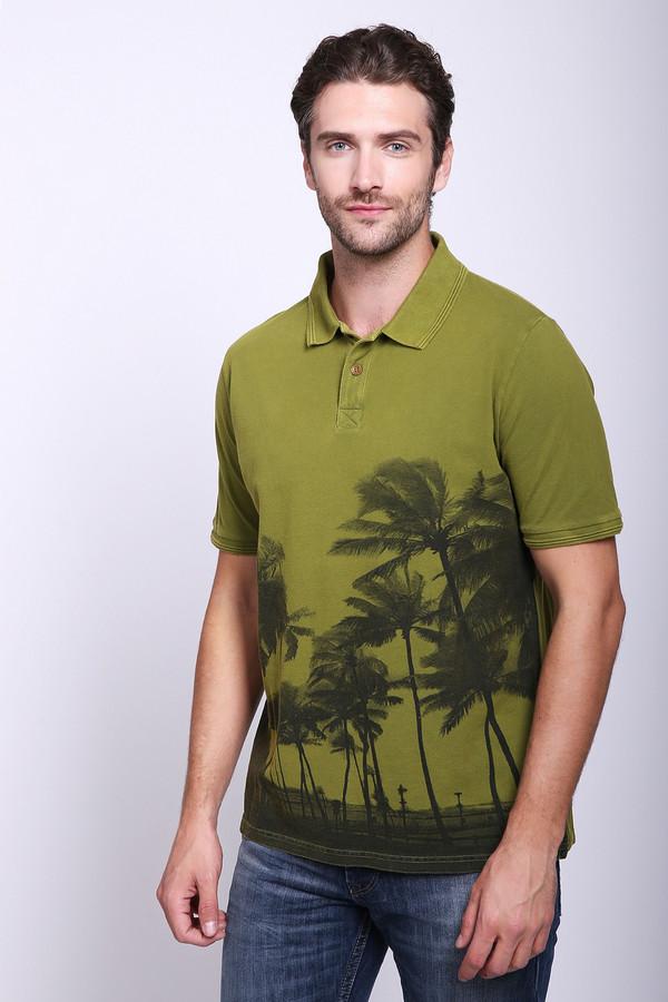 Поло Daniel HechterПоло<br>Мужская футболка-поло от Daniel Hechter. Это поло цвета хаки с принтом пальмовых теней. Изделие выполнено из 100% хлопка по классическому покрою с отложным воротником на пуговицах и рукавом длиной до середины плеча.