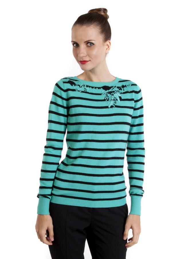 Пуловер PezzoПуловеры<br>Бирюзовый пуловер Pezzo c черными горизонтальными полосками. Изделие дополнено: круглым вырезом и длинными рукавами. Ворот, манжеты и нижний кант оформлены трикотажной резинкой. Зона декольте декорирована оригинальной вышивкой.<br><br>Размер RU: 48<br>Пол: Женский<br>Возраст: Взрослый<br>Материал: вискоза 33%, хлопок 18%, полиамид 23%, шерсть 18%, кашемир 4%, ангора 4%<br>Цвет: Чёрный