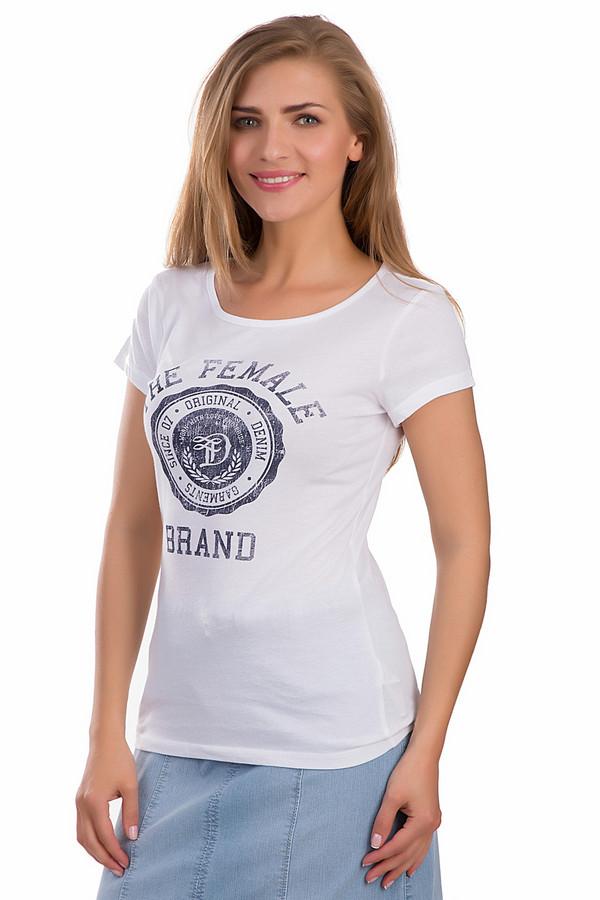 Футболка Tom TailorФутболки<br>Стильная женская футболка от бренда Tom Tailor белого и черного цветов. Эта модель была сделана из натурального хлопка. Данное изделие предназначено для теплой летней погоды. Она дополнена большой черной эмблемой Female Brand на белом фоне. Футболка сидит по фигуре. Сочетается как с юбками, так и с джинсами.<br><br>Размер RU: 38-40<br>Пол: Женский<br>Возраст: Взрослый<br>Материал: хлопок 100%<br>Цвет: Чёрный
