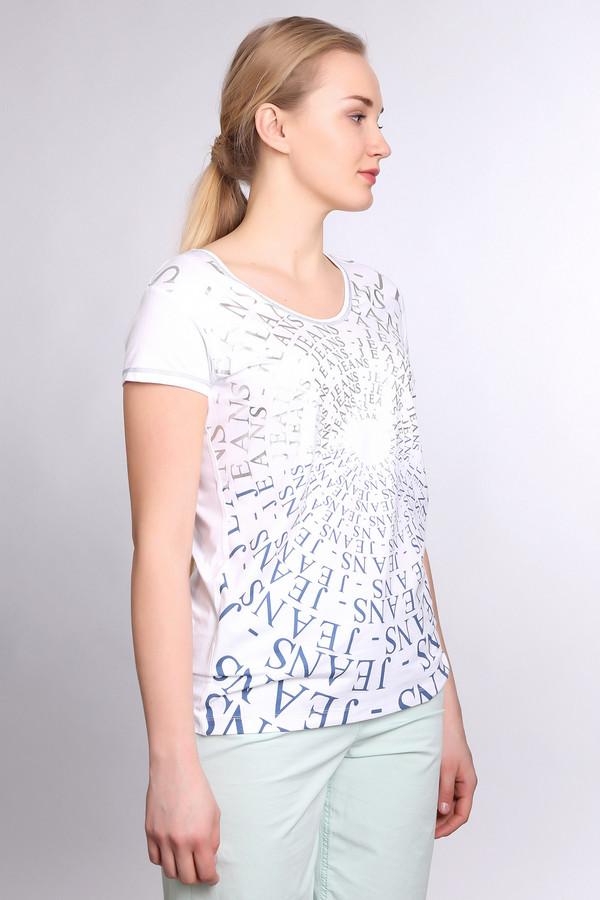 Футболка TuzziФутболки<br>Слегка удлиненная футболка для женщин, от бренда Tuzzi. Это футболка светло-серого цвета, с принтом надписей, выполненных в серебристом и синем цвете. У данной модели U-образный вырез и короткий рукав. Изделие выполнено из вискозы с добавлением эластана. Кроме того, рукава и вырез прострочены синей нитью.<br><br>Размер RU: 52<br>Пол: Женский<br>Возраст: Взрослый<br>Материал: эластан 4%, вискоза 96%<br>Цвет: Разноцветный