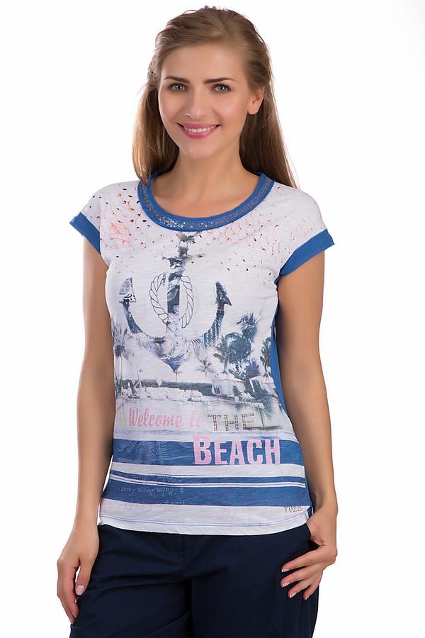 Футболка TuzziФутболки<br>Женская футболка Tuzzi белого и синего цветов. Это изделие было выполнено из хлопка и вискозы. Эта модель предназначена для летнего сезона. Она дополнена пайетками синего цвета на вороте, большим рисунком якоря и крупными синими полосами на белом фоне. Футболка свободного кроя. Спинка однотонная: синего цвета<br><br>Размер RU: 46<br>Пол: Женский<br>Возраст: Взрослый<br>Материал: вискоза 50%, хлопок 50%<br>Цвет: Разноцветный