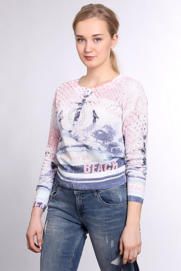 Пуловер TuzziПуловеры<br>Яркий женский пуловер от бренда Tuzzi, белого цвета с перфорацией. Данное изделие украшено надписями и принтом с морской тематикой в оранжевой, синей и голубой цветовой гамме. Модель дополнена U-образным вырезом, длинным рукавом, и отделкой в виде резинки на рукавах, горловине и внизу изделия. Пуловер изготовлен из 100% хлопка.