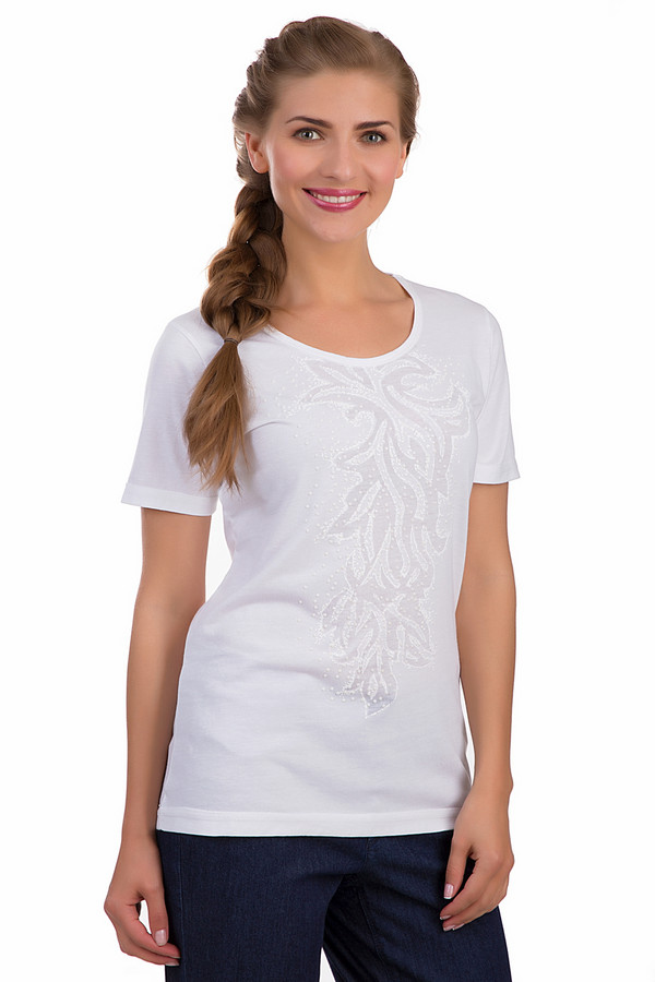 Футболка SteilmannФутболки<br>Стильная женская футболка Steilmann белого цвета. Это изделие было выполнено из полиэстера и хлопка. Данная модель предназначена для летнего сезона. Она дополнена интересным орнаментом белыми бусинами на белом фоне. Эта модель сидит по фигуре. Рукава у футболки удлинены. Сочетается с одеждой разного стиля.<br><br>Размер RU: 52<br>Пол: Женский<br>Возраст: Взрослый<br>Материал: хлопок 35%, полиэстер 65%<br>Цвет: Белый