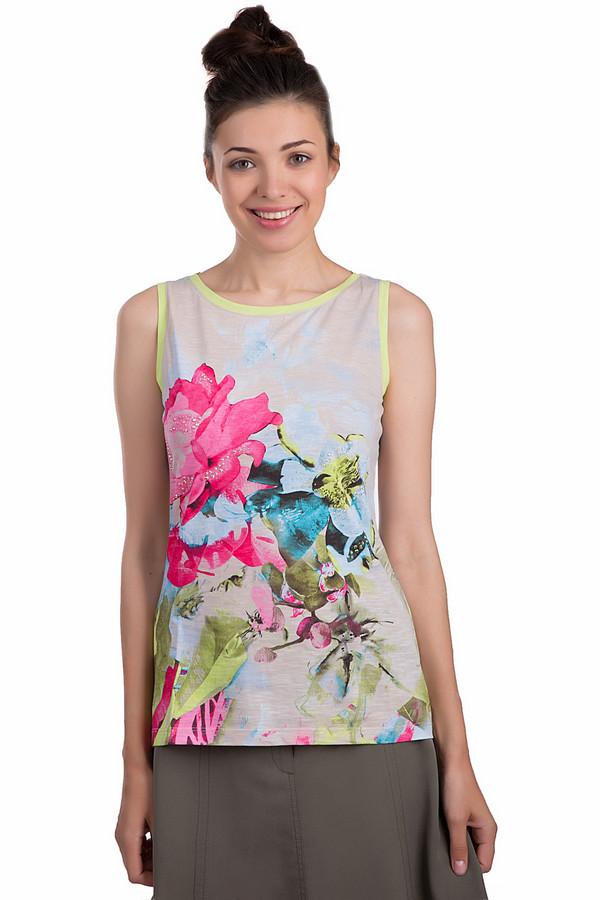 Топ Betty BarclayТопы<br>Разноцветный женский топ Betty Barclay бежевого, черного, розового, зеленого и голубого цветов. Это изделие было выполнено из натурального хлопка. Модель предназначена для летнего сезона. Она дополнена разноцветными цветочным рисунком, яркими желтыми вставками и серебристыми камнями. Вырез у топа не глубокий.<br><br>Размер RU: 44<br>Пол: Женский<br>Возраст: Взрослый<br>Материал: хлопок 100%<br>Цвет: Разноцветный
