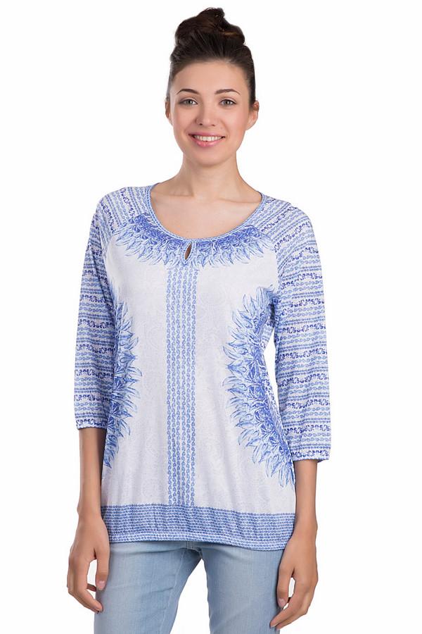Блузa BaslerБлузы<br>Удобная женская блуза Basler белого и синего цветов. Это изделие было выполнено из полиэстера и вискозы. Модель предназначена для демисезонного периода. Она дополнена интересным орнаментом. Рукава у блузы слегка укорочены. Изделие свободного кроя. Отлично сочетается с брюками и юбками разных цветов и оттенков.<br><br>Размер RU: 46<br>Пол: Женский<br>Возраст: Взрослый<br>Материал: полиэстер 50%, вискоза 50%<br>Цвет: Синий