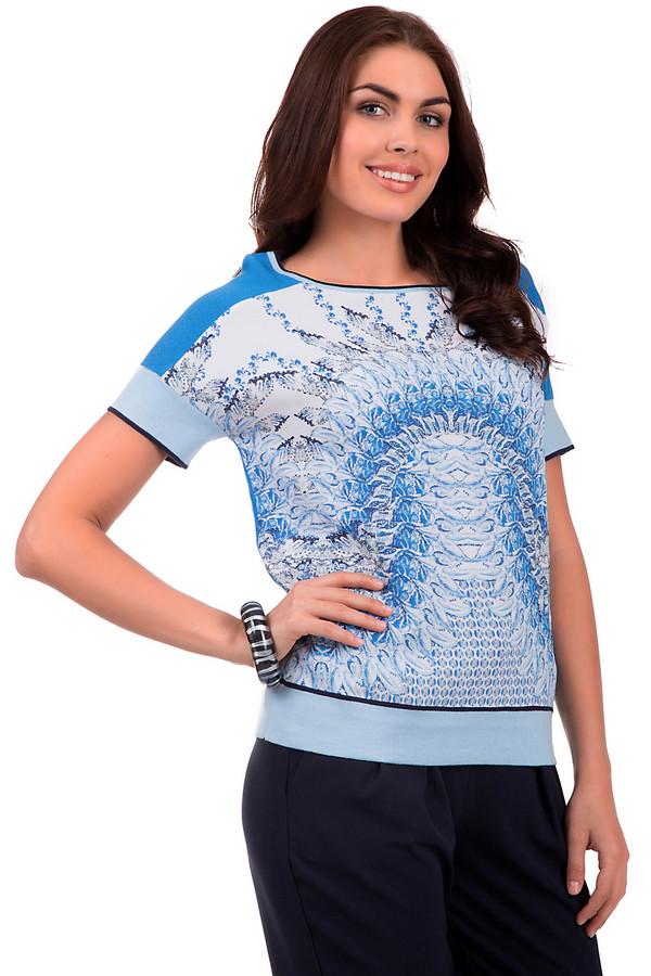 Пуловер BaslerПуловеры<br>Пуловер женский от бренда Basler, синего цвета. Спереди модель декорирована абстрактным принтом белого, голубого и черного цветов. Изделие дополнено коротким рукавом, U-образным вырезом. А также отделкой голубого цвета с черной полоской на рукавах, горловине и внизу изделия. Пуловер изготовлен из 60% хлопка и 40% вискозы.<br><br>Размер RU: 46<br>Пол: Женский<br>Возраст: Взрослый<br>Материал: хлопок 60%, вискоза 40%<br>Цвет: Разноцветный