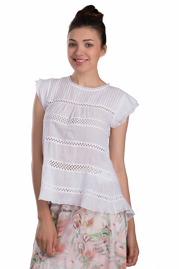 Блузa SE StenauБлузы<br>Стильная и женственная блуза SE Stenau белого цвета. Изделие было выполнено из натурального хлопка. Эта модель предназначена для летнего сезона. Она дополнена вязаными вставками. Изделие свободного кроя. Спинка длиннее передней части. Блуза добавит любому образу легкости и романтичности. Отлично сочетается не только с юбками, но и с брюками.<br><br>Размер RU: 46<br>Пол: Женский<br>Возраст: Взрослый<br>Материал: хлопок 100%<br>Цвет: Белый