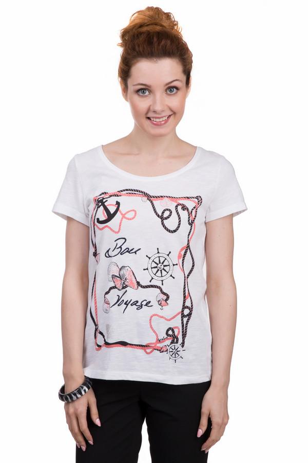 Футболка LerrosФутболки<br>Белая женская футболка от бренда Lerros выполнена из 100% дышащего хлопка. Изделие дополнено широким воротником лодочка и короткими рукавами до середины плеча. Фронтальная часть декорирована рисунком с морскими атрибутами и надписью BON VOYAGE. Отличный вариант для сочетания с джинсами, так же можно дополнять образ кардиганом.<br><br>Размер RU: 46<br>Пол: Женский<br>Возраст: Взрослый<br>Материал: хлопок 100%<br>Цвет: Разноцветный