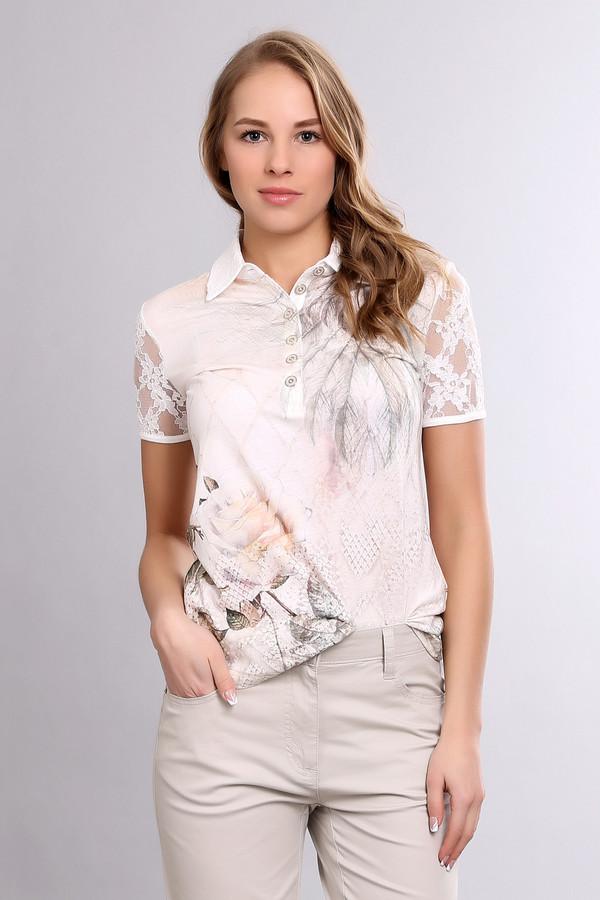 Блузa SportalmБлузы<br>Женственная, облегающая блуза от бренда Sportalm с принтом в виде розы. Классический воротник застегивается на пуговицы. Изделие дополнено отложным воротником с планкой на пуговицах и ажурными, кружевными рукавами. Модель является одновременно деловой и нарядной. Изготовлена из хлопка и модала.<br><br>Размер RU: 44<br>Пол: Женский<br>Возраст: Взрослый<br>Материал: хлопок 50%, модал 50%<br>Цвет: Разноцветный