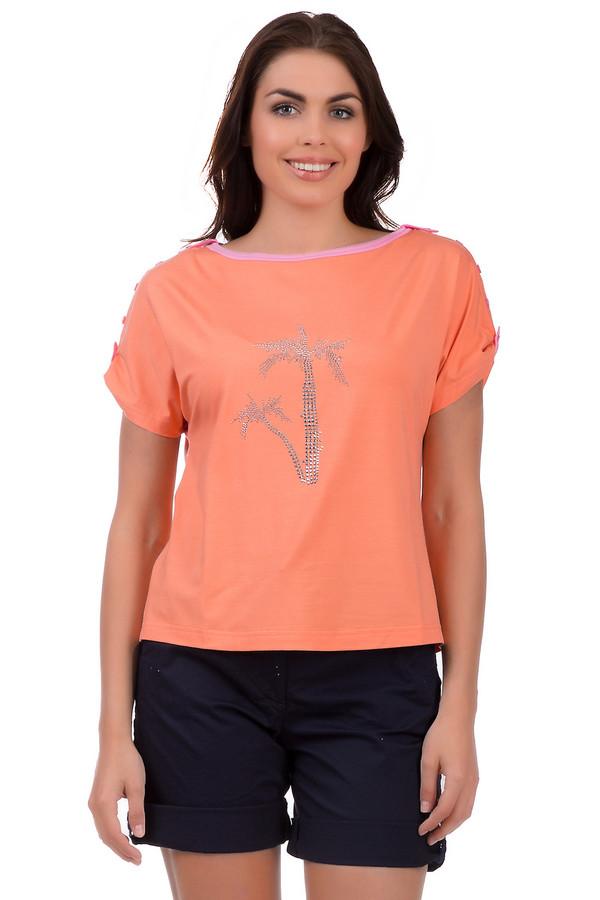 Футболка Eugen KleinФутболки<br>Летняя женская футболка от бренда Eugen Klein, представленная в оранжевом цвете с изображением пальмы из металлических страз. Это изделие также дополнено короткими бесшовными рукавами, вырезом-лодочкой, отделанным розовой тесьмой и декоративными пуговицами на плечах. Состав футболки - вискоза в сочетании с эластаном.<br><br>Размер RU: 44<br>Пол: Женский<br>Возраст: Взрослый<br>Материал: вискоза 93%, эластан 7%<br>Цвет: Оранжевый