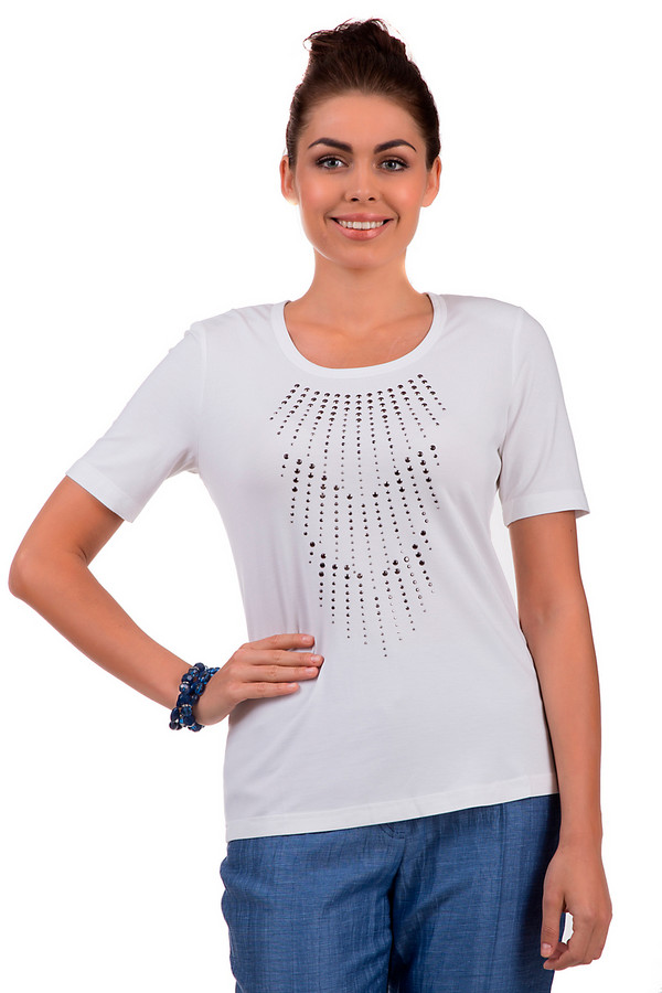 Футболка Eugen KleinФутболки<br>Летняя женская футболка от торговой марки Eugen Klein представлена в белом цвете с принтом из металлических страз спереди. Эта модель дополнена рукавами длиной до середины плеча и U-образным вырезом. Состав данного изделия - вискоза с добавлением эластана.<br><br>Размер RU: 44<br>Пол: Женский<br>Возраст: Взрослый<br>Материал: вискоза 93%, эластан 7%<br>Цвет: Белый