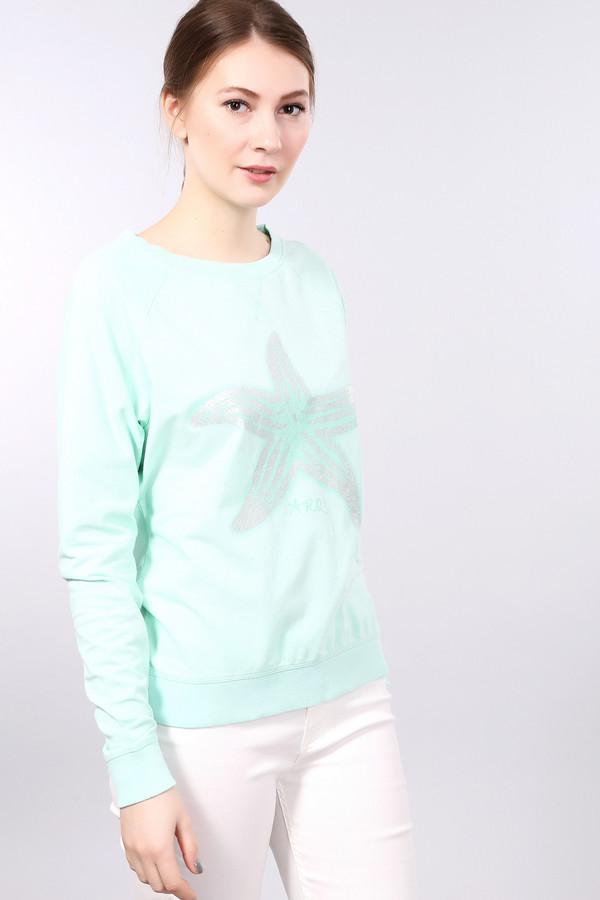 Пуловер ArqueonautasПуловеры<br>Женский пуловер от бренда Arqueonautas. Этот пуловер представлен в сочном бирюзовом цвете и на груди дополнен звездой на тон темнее, декорированной принтом цвета серебристый металлик. Это пуловер простого покроя, с круглым вырезом и длинными рукавами. Пуловер сшит из материала, который на 72% состоит из хлопка, на 6% из эластана и на 22% из полиэстера. С легкостью освежит и дополнит повседневный образ.<br><br>Размер RU: 40-42<br>Пол: Женский<br>Возраст: Взрослый<br>Материал: эластан 6%, полиэстер 22%, хлопок 72%<br>Цвет: Голубой